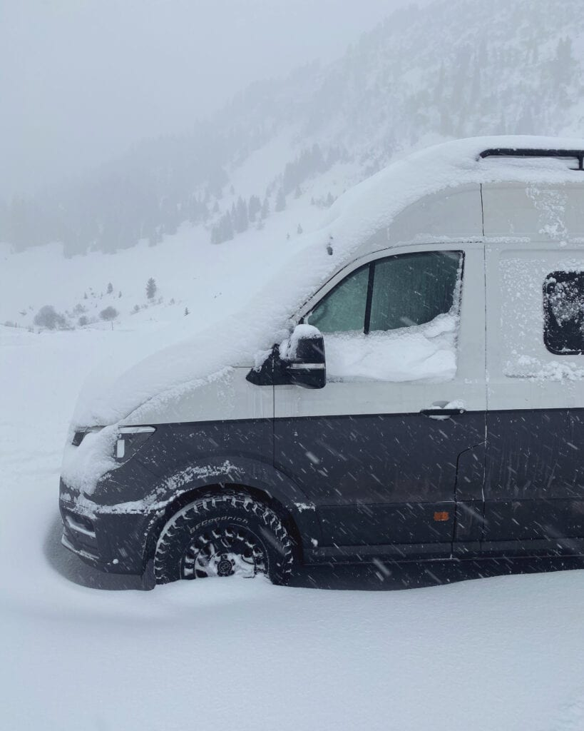A winterised campervan in a ski resort