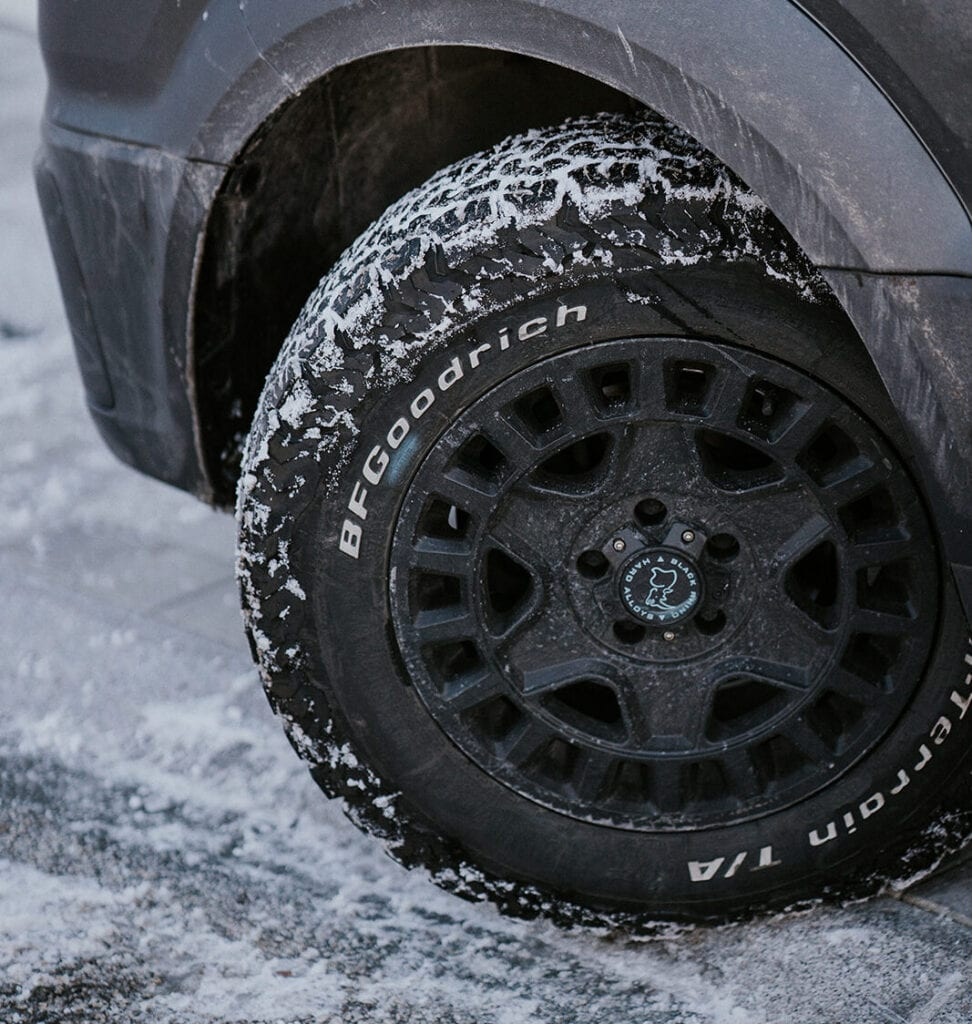 Winter tyres on a campervan