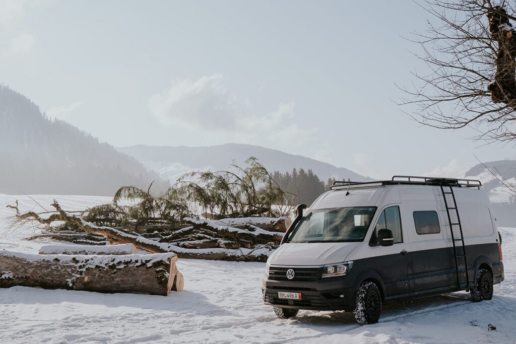 A winterised campervan in the Alps